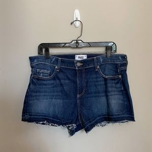 PAIGE Dark Wash Denim Shorts with Acid Wash Hem